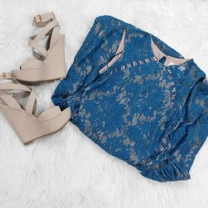 The Jetset Diaries Teal Lace Dress